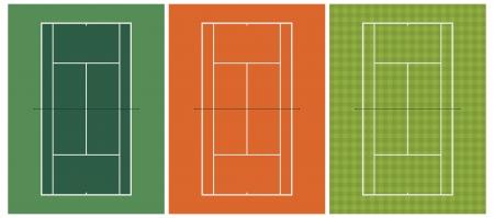 sideline: Ilustraci�n vectorial capas de tres diferentes tipos de pista de tenis Vectores