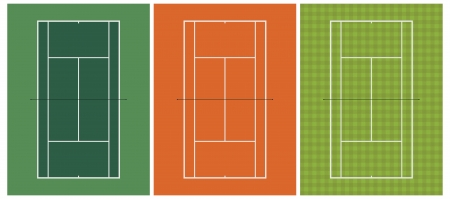 hard court: Layered vector illustration of three different kinds of tennis court