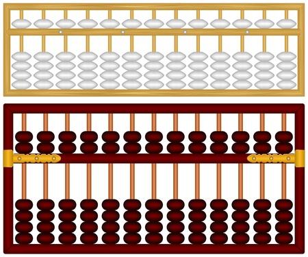Layered illustration of Chinese Abacus. Illustration