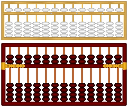 Layered illustration of Chinese Abacus. Illustration