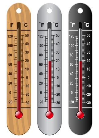 thermometers: Layered Illustration Of Three Kinds Of Thermometer