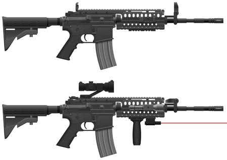 Layered Illustration Of Machine Gun