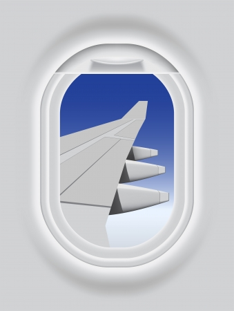 Layered illustration of Aircraft s Porthole  Vector