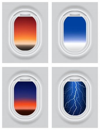 Layered illustration of Aircraft s Porthole with different view  Vector