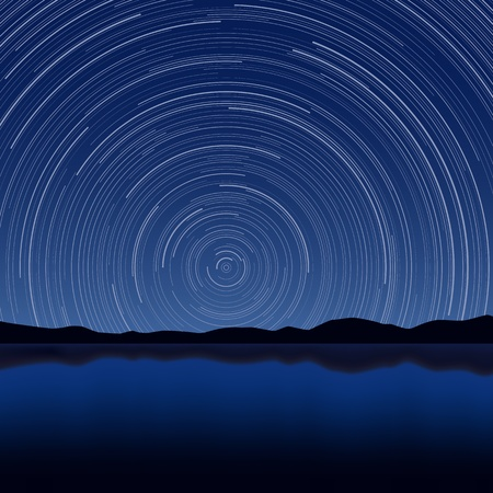 long exposure: Layered  illustration of Star Trail with long exposure effect  Illustration