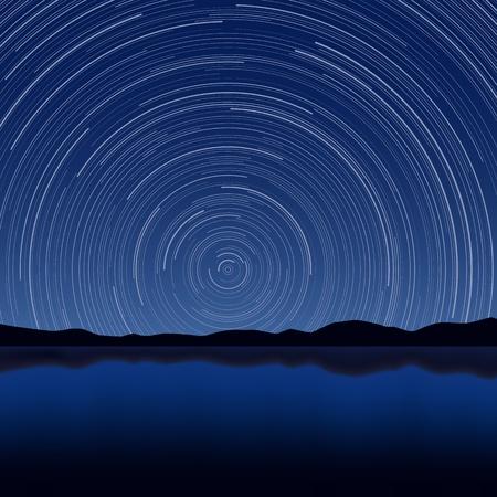 hosszú expozíció: Rakott illusztrációja Csillagok Trail hosszú expozíciós hatása