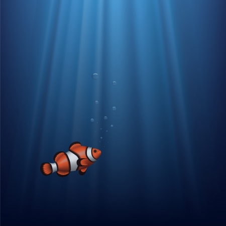 amphiprion: Layered vector illustration of a clownfish under water with sunbeam