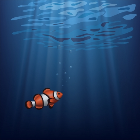 saltwater: Layered vector illustration of a clownfish under water with sunbeam