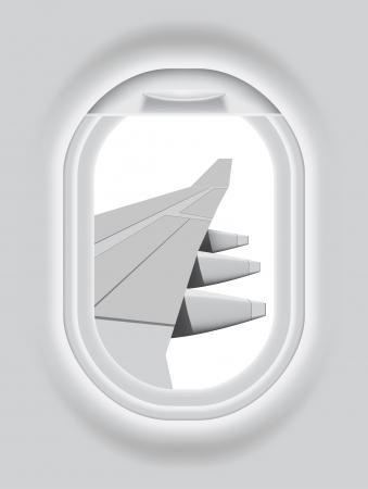 Многоуровневая иллюстрация Иллюминатор самолета с изолированными на белом фоне