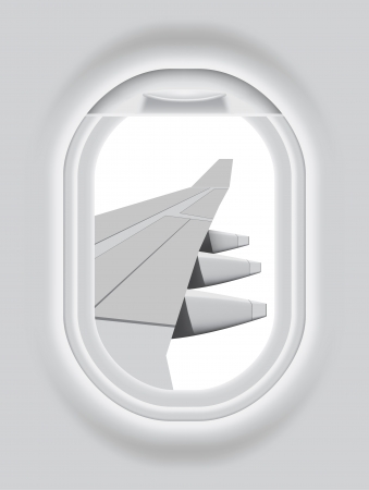 airplane window: Layered illustration of isolated Aircraft s Porthole with white background