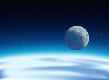 Layered illustration of the view of  earth and moon from universe  Vector