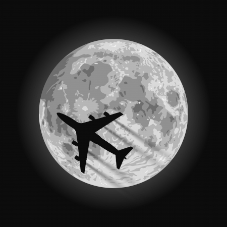 layered sphere: Layered vector illustration of Moon with a airplane silhouette