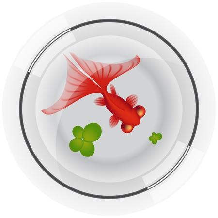 bovenaanzicht plant: Gelaagde vector illustratie van Fishbowl met Gold Fish Stock Illustratie