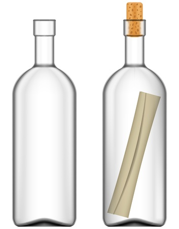 Layered vector illustration of Message in bottle Ilustração