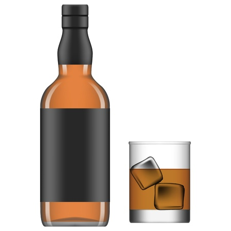 Layered vector illustration of isolated glass and bottle of liquor. Illustration