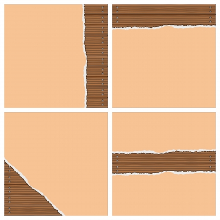 snag: Layered illustration of Tear Wallpaper with Board Wall background. Illustration