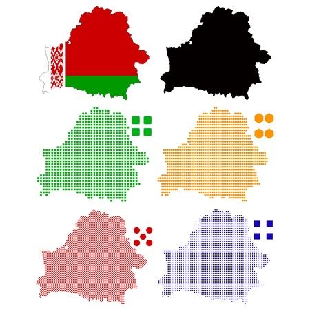 belarus:  illustration pixel map of Belarus.