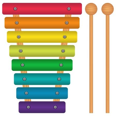 xilofono: Ilustración vectorial capas de xilófono de juguete.