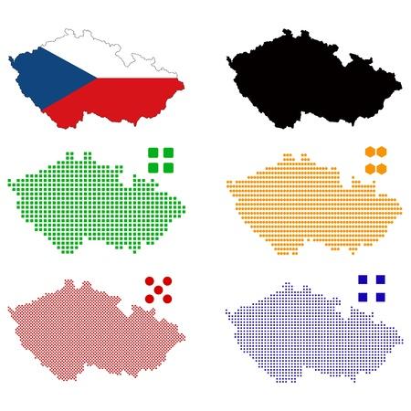 pixelate: Vector illustration pixel map of Czech Republic. Illustration