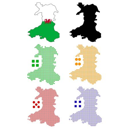 wales: Vector illustration pixel map of Wales.