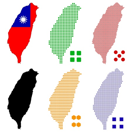 illustration pixel map of Taiwan  Illustration
