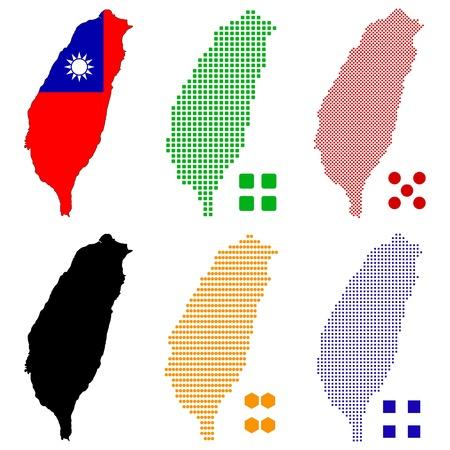 pixels: illustration pixel map of Taiwan  Illustration