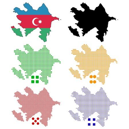 pixelate: illustration pixel map of Azerbaijan  Illustration