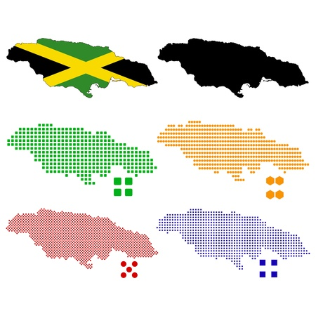 illustration pixel map of Jamaica. Stock Vector - 17803390