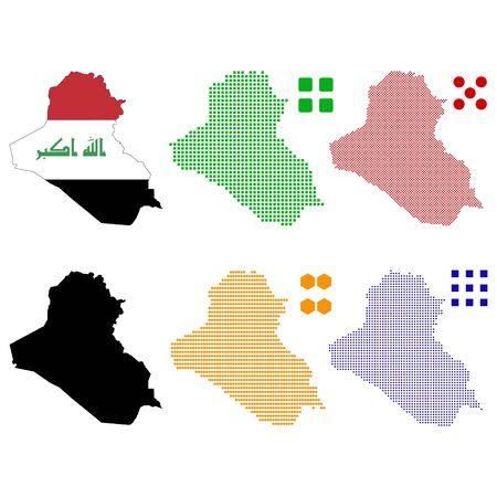 pixelate: Vector illustration pixel map of Iraq