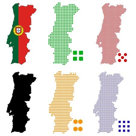 pixelate: illustration pixel map of Portugal. Illustration