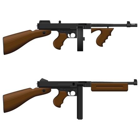 gun barrel: Layered  illustration of isolated Machine Gun.