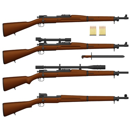 Layered vector illustration of antique American Rifle. Vector