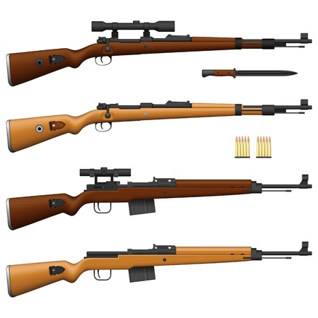 telescopic: Capas de ilustraci�n vectorial de la antigua Alemania del Rifle. Vectores