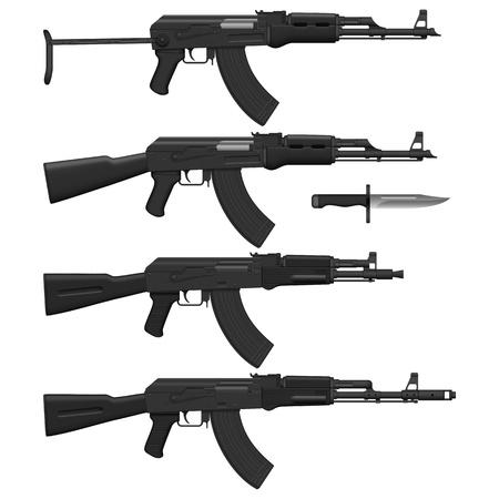 kalashnikov: Layered vector illustration of different Assault rifles. Illustration