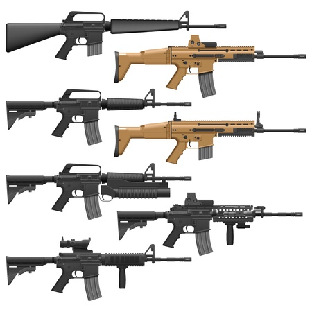 Layered illutration of different American Carbines. Vector