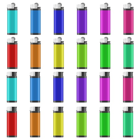 gas lighter: Layered illustration of Lighter with different color.