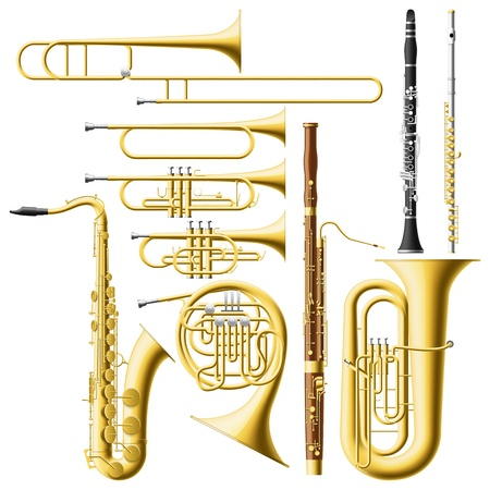 Layered vector illustration of collected Wind Instruments. Vector