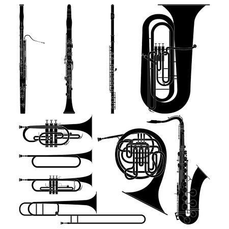 Gelaagde vectorillustratie van verzamelde Wind Instruments. Vector Illustratie