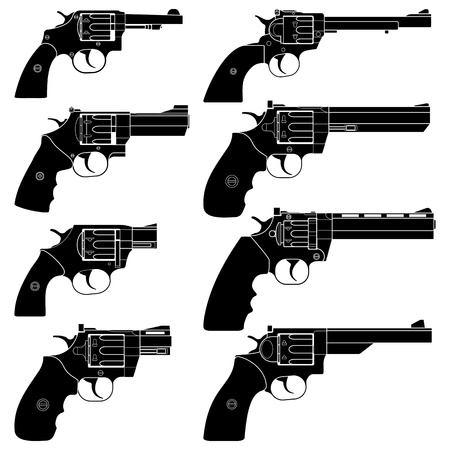 gun shot: Layered illustration of collected Revolver. Illustration