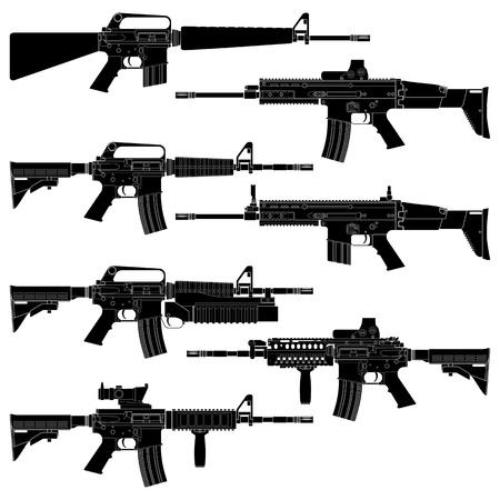 수집 된 미국 엽총의 계층화 된 그림. 일러스트