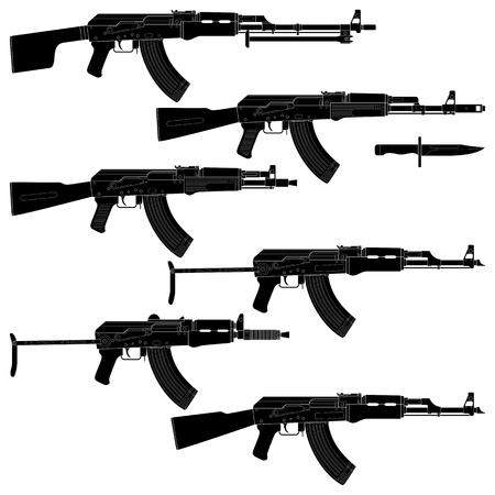 gatillo: Ilustración en capas de rifles de asalto recogidos