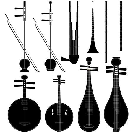 수집 된 중국 음악 악기의 계층화 된 그림