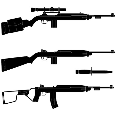 old rifle: Layered illustration of silhouette Carbine.