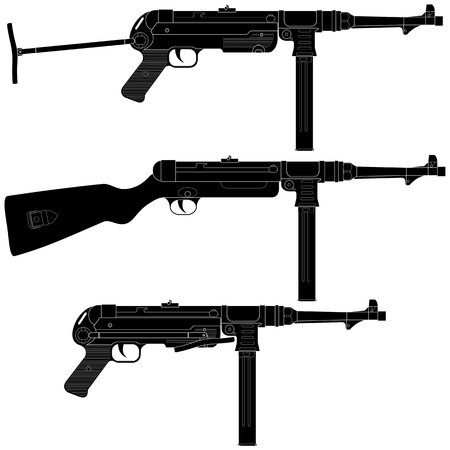 Layered illustration of antique Germany  Machine Pistol. Illustration
