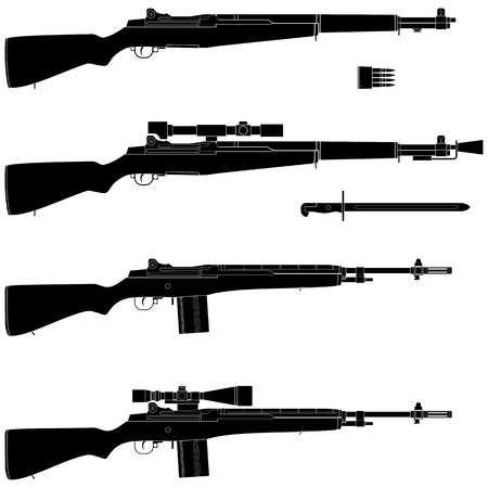 gun silhouette: Layered illustration of isolated Rifle.