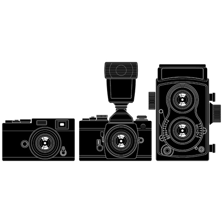 len: Layered vector illustration of collected Old Cameras. Illustration