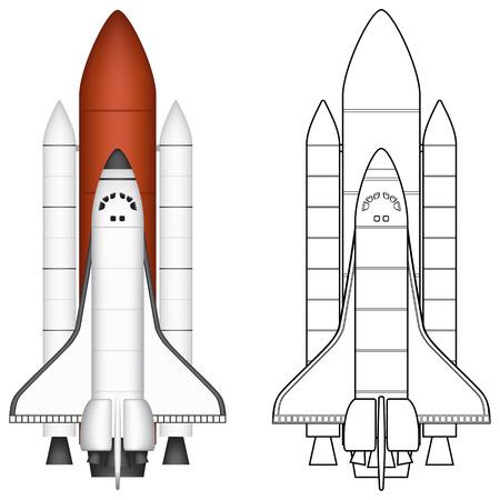 booster: Illustration vectorielle couches de la navette spatiale.