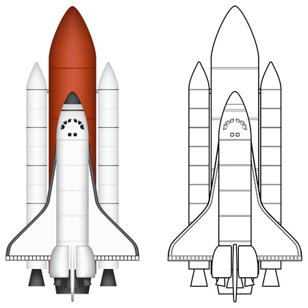 spaceflight: Layered vector illustration of Space Shuttle. Illustration