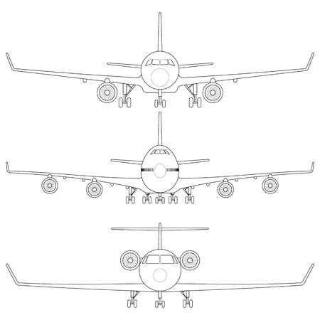 commercial airplane: Layered vector illustration of collected Commercial Airplane.