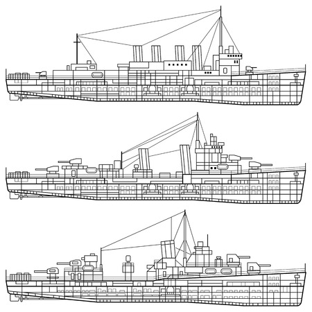 Layered Vektor-Illustration von Kriegsschiff.